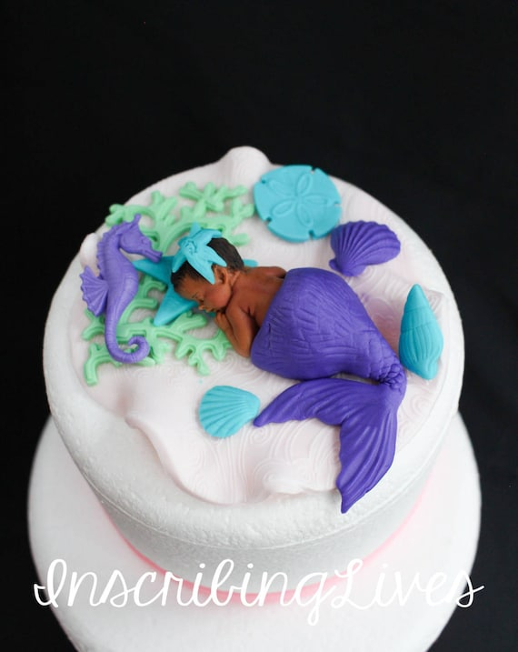 Delightful Mermaid Baby Shower Cake Topper Girl Purple Lavender 3D Edible