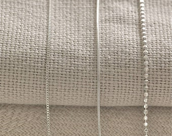 Sterling Silver Chain, Sterling Silver Snake Chain., 45cm Silver Plated Chain, Curb chain, Snake chain.