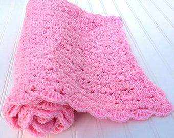 Baby blanket crochet pattern, easy crochet baby blanket, baby afghan pattern, baby blanket pattern, crochet shell stitch pattern