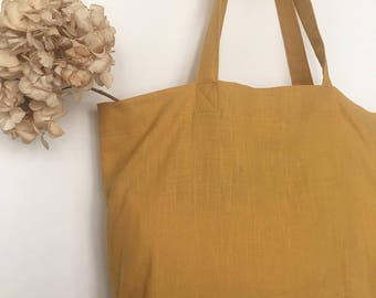 Mustard linen with Pocket inside Tote