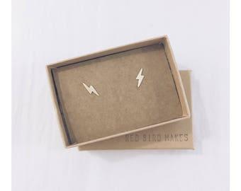 Minimalist Geometric Brass Tiny 'Flash' Lightning Stud Earrings