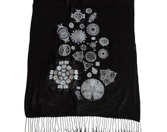Diatoms Printed Scarf. Silkscreened Linen weave pashmina. Haeckel illustrations, microscope scans. Choose black, silver & more.