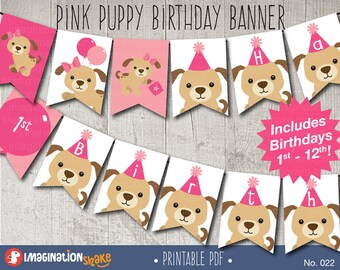 Pink Puppy Birthday Party Banner PRINTABLE / Dog Birthday Printables / Any Age Banner / Puppies Banner / Puppy Birthday Party / No. 022