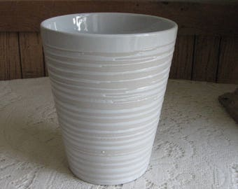 Vintage White Clay Vase Pottery Flower Vases White Home Décor and Florist Ware
