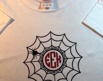 Halloween Spider Web Shirt with Monogram - Halloween Monogram Shirt - Spider Web Shirt - Kid's Halloween Shirt - Kid's Spider Web Shirt