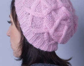 Stylish pink mohair hat