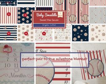 CUSTOM 1 layer Muslin Baby Swaddle / Organic Sweet Pea Gauze Newborn Swaddle - CHOOSE pattern - Baseball Stripes All Star