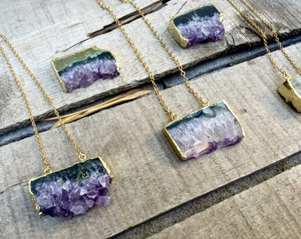 Boho Chic Gold Dipped Amethyst Slice Crystal Pendant | Gold Necklace | Raw Crystal Necklace | Amethyst Necklace | Crystal Necklace