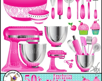 50's Fuchsia Kitchen Set 1 - 16 Digital Clipart Graphics - baking supplies cupcakes whisk rollingpin bowl spatula [ INSTANT DOWNLOAD ]