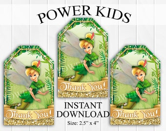 INSTANT DOWNLOAD Tinkerbell Thank You Tags, Favor Tags, Party Favors, Printable DIY