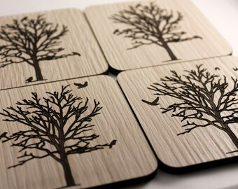 Birds of a Feather, Drink Together - Set of 4 Laser Cut Coasters