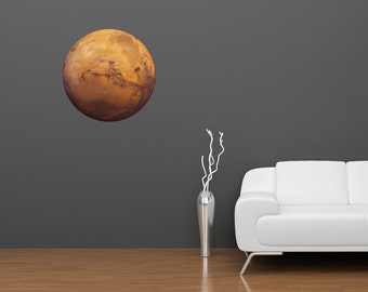 Planet Mars Reusable Adhesive Fabric Wall Decal | astronomy planets nasa space theme kids room decor solar system outer space stickers
