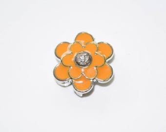 Orange flower bead for leather bracelet
