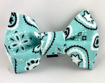 Light Blue Handkerchief Print Dog/Cat Bow Tie
