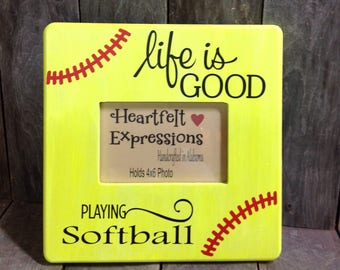 Life is Good, Softball, Softball Picture Frame