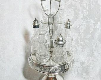 Antique Silver Plate Caster Cruet Set - Quadruple Plate