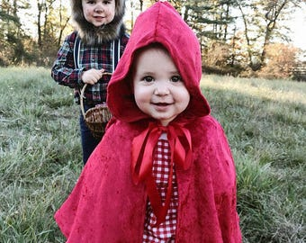 Toddler Crushed Panne Velvet Little Red Riding Hood Capelet -12 Inch Length