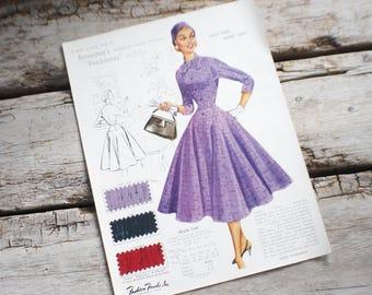 Fashion Frocks, Style Card, 1950s ,Mad Men , retro clothing, style 186, clothing, dressmaker, seamstress gift, lookbook, cincinnati ohio,