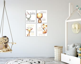 Baby Boy Room Decor, Woodland Nursery Decor, Baby Boy Room Decorations, Animal Nursery Art