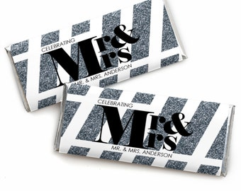 24 Count Mr. & Mrs. - Silver Custom Candy Bar Wrappers - Personalized Wedding Favors