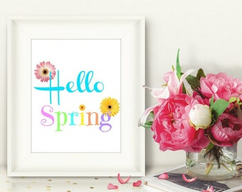 Hello Spring Floral Art Print, Welcome Spring, Gerber Daisies Printable Wall Art, Printable Spring Home Decor, Instant Download Art Print