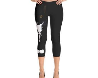 Cat Capris Leggings, Women's Cat Workout Pants, Running, Fitness Wear, Tuxedo Cat Lover Gift, Gift for Her, Cool Cat Creations, Cat Mom Gift