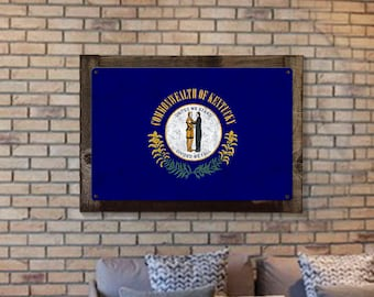 Kentucky State Flag, United We Stand Divided we Fall, Triptych Metal Sign, Optional Rustic Wood Frame, Wall Decor, Wall Art, FREE SHIPPING!