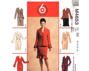 Unlined Jacket Skirt Pattern McCalls 4653 Slit Bell Sleeve Jacket Ruffle Hem Skirt Dressy Suit Womens Sewing Pattern Size 8 10 12 14