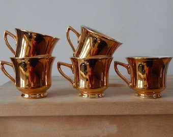 Set of 5 Vintage Espresso Coffee Cup Set Coffee Golden cup Porcelain Made in Czechoslovakia