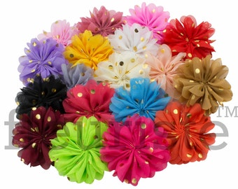 "CHOOSE 3"" Chiffon Flower with gold dot, Wholesale Flower, Fabric Flower, Headband Flower, Wedding Flower, Flower Embellishment, Diy Flower"