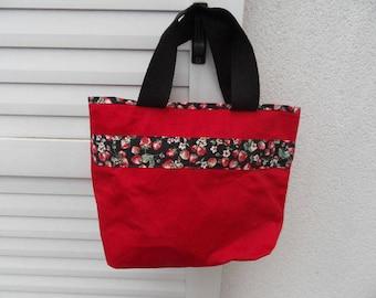 Small Strawberry fabric bag