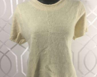 Vintage MY Women's Light Yellow Angora Sweater Size Medium