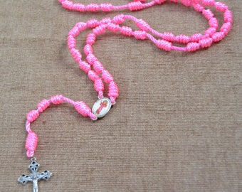 Divine Baby Jesus Pink Regular Rope Rosary with Metal Cross and Pendent
