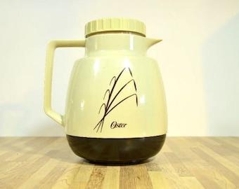 Jahrgang Oster Kaffee Karaffe Thermoskanne Beige Braun 6 Cup 1980 Hongkong