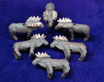 Moose Beads, 6 Ceramic Pendants, Moose Figural