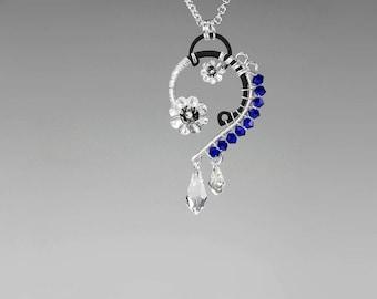 Dark Blue Swarovski Crystal Necklace, Industrial Pendant, Rare Cobalt Swarovski Crystals, Space Jewelry, Wire Wrapped Pendant, Polaris