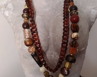 Long necklace with Dopppia pendant with jewellery chain