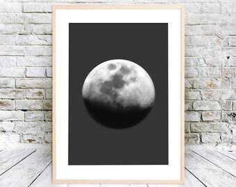 Printable Moon Art, Full Moon Poster, Full Moon Wall Art,  Full Moon Art Print, Printable Moon Poster, Full Moon Print, Decor Above Bed