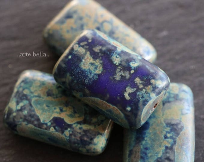 EARTHY BLUE RECTANGLES .. New 4 Premium Picasso Czech Glass Beads 19x12mm (6159-4)