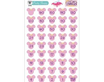 RunDisney Princess Half Marathon or Glass Slipper Challenge Countdown Stickers - Disney Planner Stickers