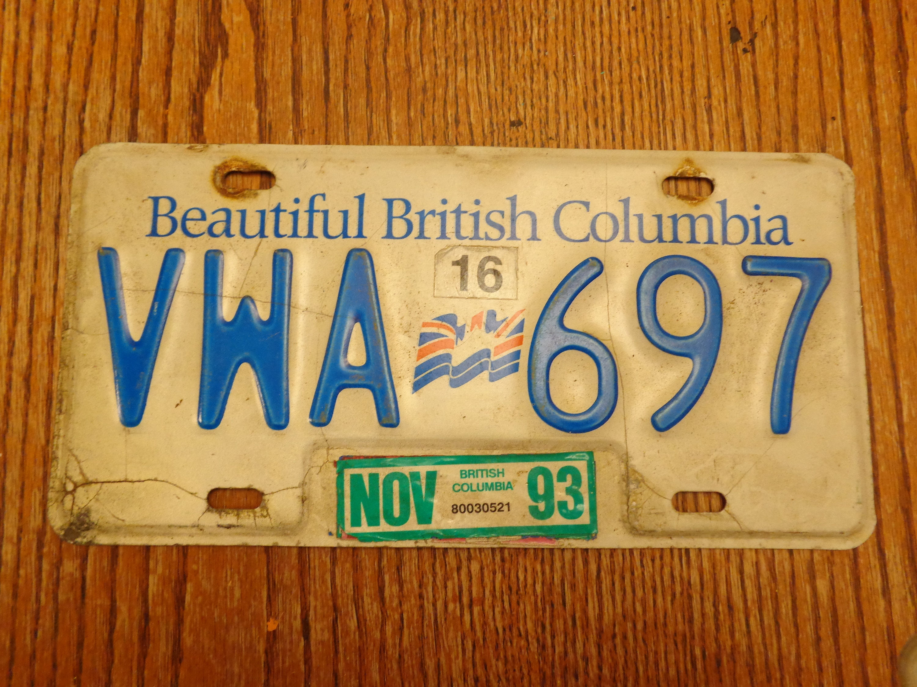 Vintage License Plate British Columbia Old License Plate