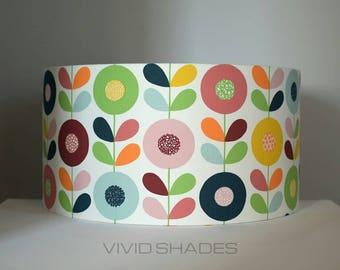 Lampshade Scandi fabric 40cm or 45cm handmade by vivid shades, retro genuine Scandinavian fabric geometric flower pattern lamp shade orange