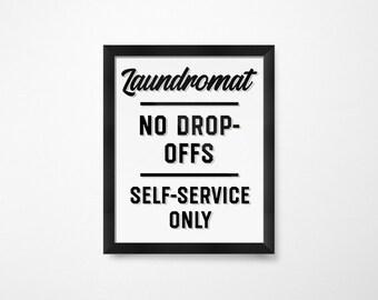 Farmhouse Decor, Black and White Laundry Room Decor, Laundromat, Laundry sign, PRINTABLE Art, Laundry Printables, Laundry Art