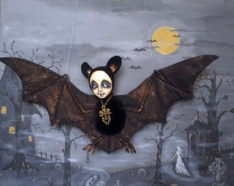 "OOAK art doll ""Bat Kleo""teddy-doll flittermous-rearmouse-flier-flyer-horror doll-Goth doll-vampire bat-ghoul-winged sculpture-necromancer"