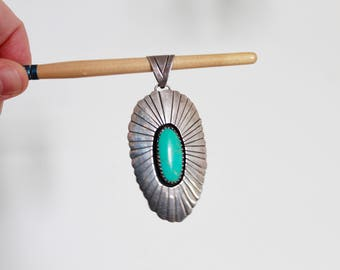 Vintage Sterling Silver and Turquoise pendant/ Turquoise Pendant / Southwestern Pendant / Southwestern Jewellery / Boho Style