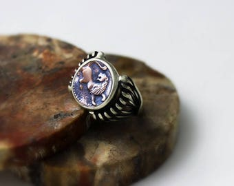 Lion Coin Ring ,  Men Silver Coin Ring, Ancient Coin Ring, Silver Ring, Silver Men Ring, Silver Women Ring, Men Ring, Lion