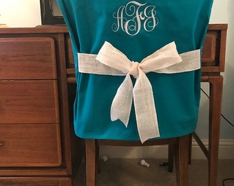 Desk Chair Covers/Teal Monogrammed ...