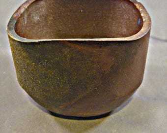 Tall squared Japanese Anagama Wood Fired cup