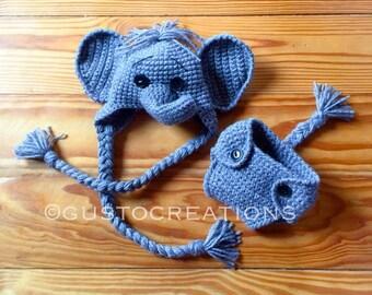 Newborn Elephant Set - photo prop dumbo diaper cover gray