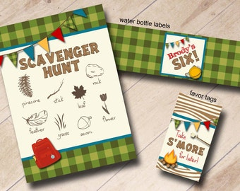 Woodsy Camp-Out Birthday Party Package- Invitation, Scavenger Hunt, Waterbottle Labels, Favor Tags - Plaid, Camping, Sleep Over, Outdoors